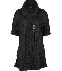 tunica a mezze maniche in tessuto stropicciato (nero) - bpc bonprix collection