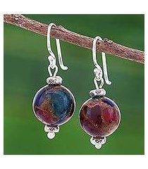 glass bead dangle earrings, 'fantastic journey' (thailand)