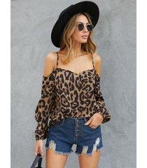 yoins blusa de manga larga con hombros descubiertos y leopardo marrón