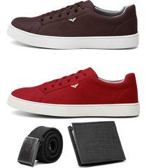 dois sapatãªnis jogger masculino urbano confort com carteira e cinto - branco/cinza/marrom/vermelho - masculino - camurã§a - dafiti