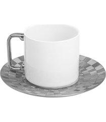 conjunto 6 xícaras para chá com pires de porcelana super white wolff 200ml – vera silver