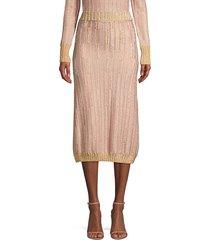 herve leger women's lurex midi skirt - blush - size m
