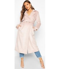 brushed wool look trench coat