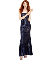 rtv- crystal doll juniors' sequined strapless gown