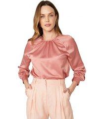 amaro feminino blusa acetinada manga longa franzido, rose