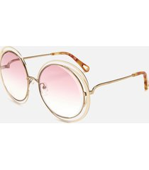 chloé women's willis round frame sunglasses - gold/ivory