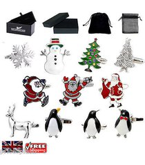 men's christmas cufflinks, santa claus, penguin trees cufflinks & gift box/pouch
