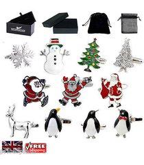 men's christmas cufflinks, santa claus, penguin trees cufflinks & gift box/pouch
