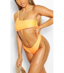 mix & match one shoulder tie side bikini top, orange