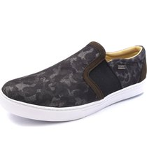 sapatênis slip on shoes grand jeans camuflado com couro verde militar