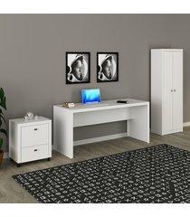 conjunto de escritório com mesa, armário alto e gaveteiro 03 branco dallas