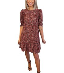 ax paris ditsy floral puff sleeve smock dress