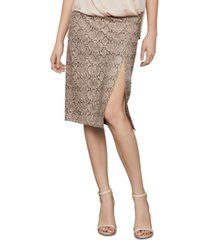 bcbgmaxazria snake-embossed faux-leather midi skirt