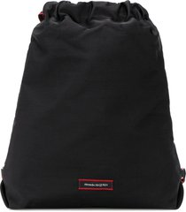 alexander mcqueen drawstring logo patch backpack - black