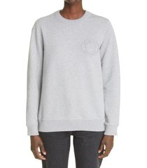 burberry fairhall logo embroidered sweatshirt, size xx-small in pale grey melange at nordstrom