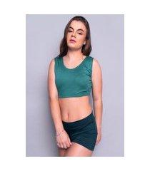 blusa cropped 4 estações feminino regata canelado liso casual basico verde