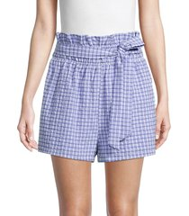 english factory women's check paperbag shorts - blue - size s