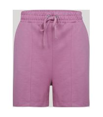 bermuda de moletom feminino com bolso cintura alta rosa