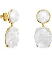 aretes cortos vita de oro con perla y cuarzo rosa 918533090
