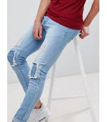 liquor n poker - superenge biker-jeans mit rissen - blau