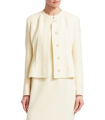 akris wool crepe darted jacket - swan - size 14