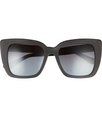 diff lizzy 54mm polarized cat eye sunglasses in matte black/blue at nordstrom