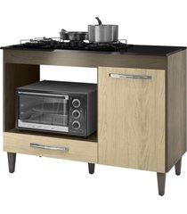 balcão para cooktop 4 bocas e forno microondas carla castanho/avelã - ajl móveis