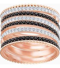 anello lollypop, nero, placcato oro rosa