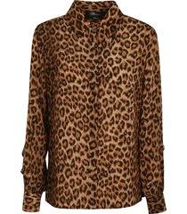 blumarine ruffled sleeve animal printed shirt