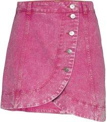 washed denim kort kjol rosa ganni