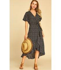 black ruffle trim calico deep v neck dress
