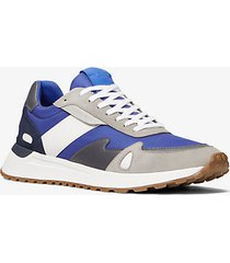 mk sneaker miles in nylon e pelle color-block - blu marea (blu) - michael kors