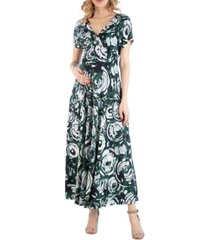24seven comfort apparel circlet print empire waist maternity maxi dress