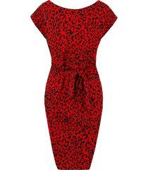 panter strik jurk rood