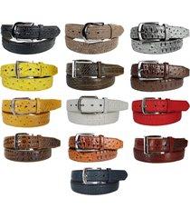 men faux alligator crocodile skin genuine leather stitched belt w belt buckle