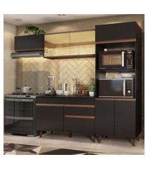 cozinha completa madesa reims xa260001 com armário e balcão preto/rustic preto/rustic