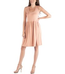 24seven comfort apparel slim fit sleeveless a-line flare dress