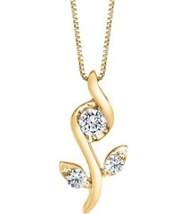 1/0 ct. t.w.diamond rose pendant in 14k white, yellow or rose gold