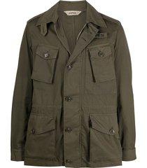 aspesi long sleeve buttoned flap pocket jacket - green