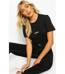 awks micro print slogan t-shirt, black