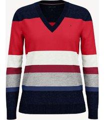 tommy hilfiger women's essential block stripe sweater masters navy/ red multistripe - xxs