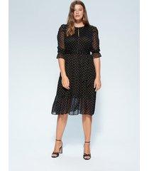 gestippelde jurk met wijde rok