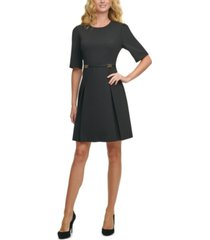 tommy hilfiger petite elbow-sleeve fit & flare dress