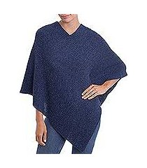 100% alpaca poncho, 'enchanted evening in indigo' (peru)