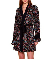 women's hauty floral challis robe, size medium/large - black