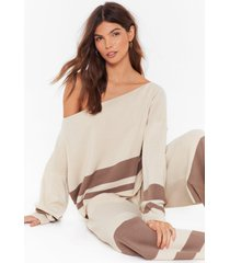 womens off-the-shoulder sweater and matching wide-leg lounge set - stone