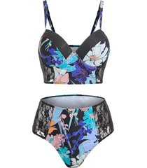 floral print sheer lace insert underwire tankini swimwear