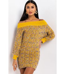 akira take it from here off the shoulder long sleeve knit mini dress