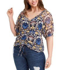 inc plus size ruched full-sleeve top, created for macy's