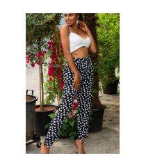trendy zomer broek met polka stippen zwart